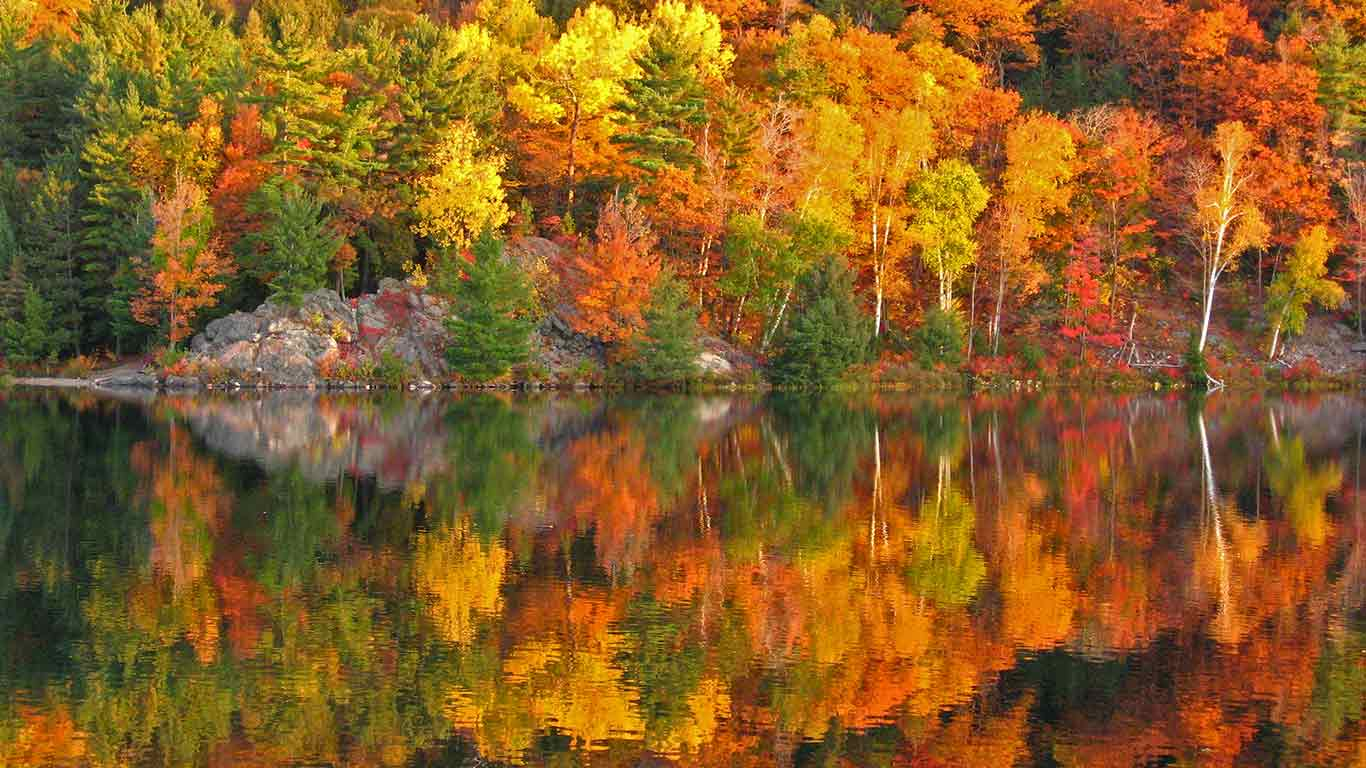 Осеняя листва, осенний пейзаж, красота в Канаде,Fundy Coastal Drive, N.B.