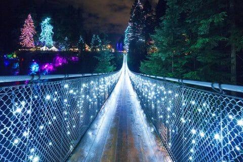 подвесной мост Капилано, парк Капилано, рождество Канада