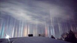 световые столбы Канада, Онтарио, красота, природное явление