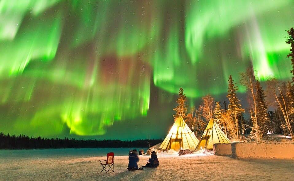 северное сияние, Канада, Юкон, чудеса природы